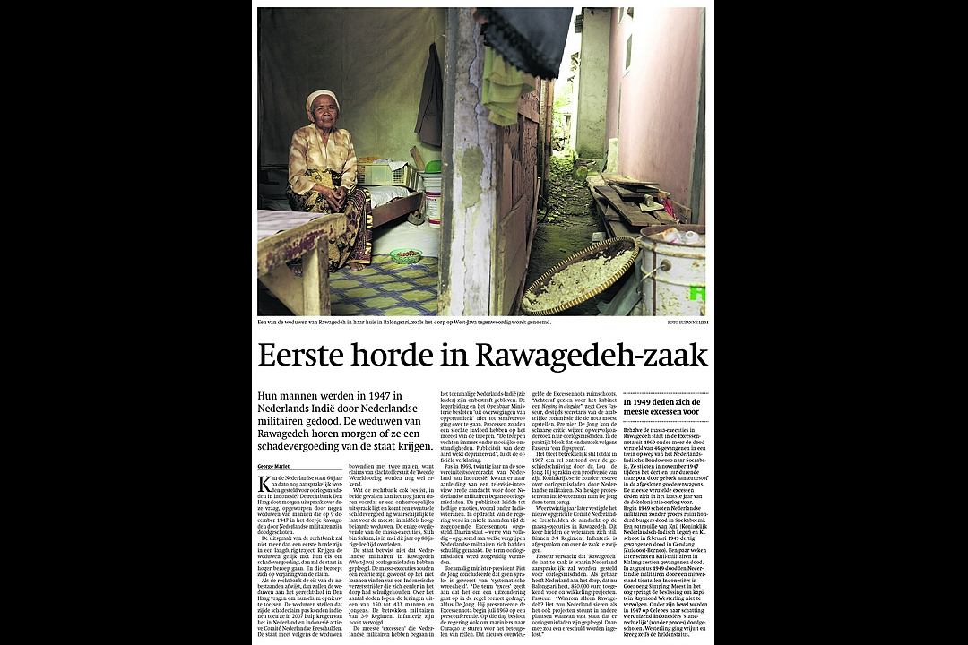 Trouw, September 13th 2011: First hurdle in Rawagedeh-case